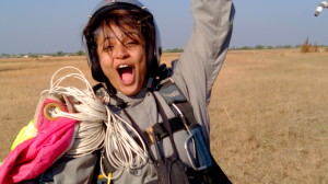 the victorious feeling after safe landing